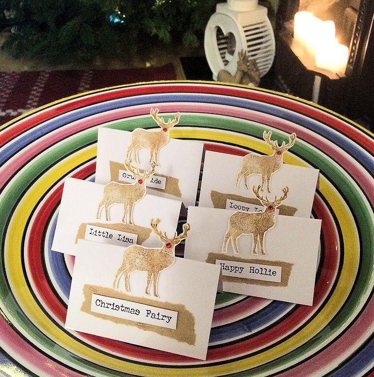 I Like To Make Pretty Placecards For Our Christmas Dinner Table The Little Extra Homemade Touches This Year M Using Sweet Reindeer Stamp From