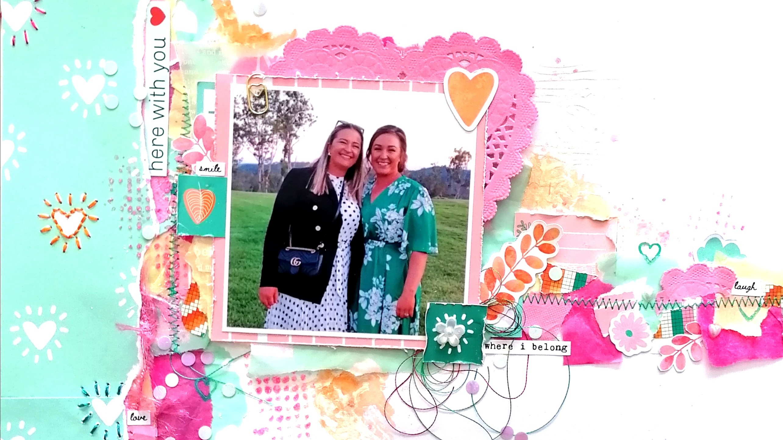 Here with you! – Scrapbook layout by Philippa McCray